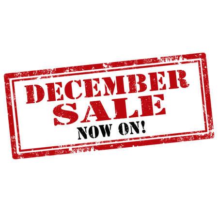 in december: Grunge rubber stamp with text December Sale-Now On,vector illustration Illustration