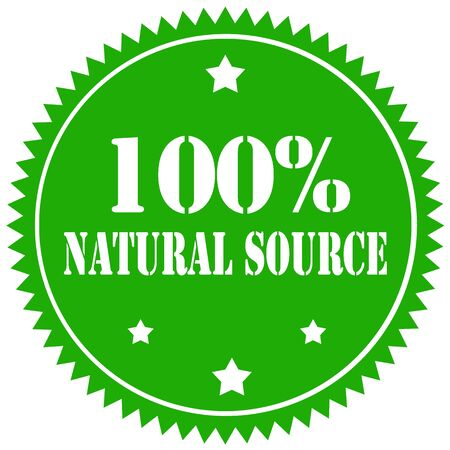 source: Green stamp with text 100% Natural Source,illustration Illustration