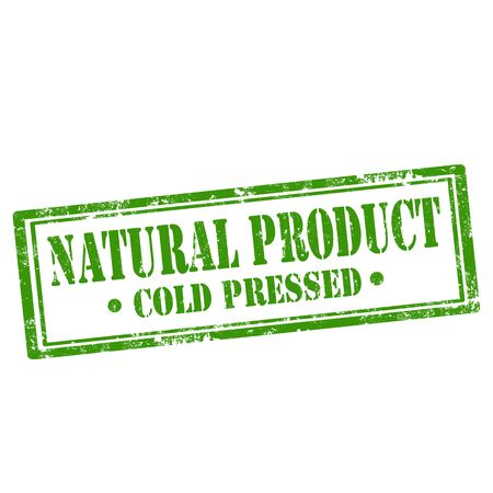 pressed: Grunge rubber stamp with text Natural Product-Cold Pressed, illustration Illustration