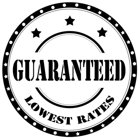 Black stamp with text Guaranteed Lowest Rates, illustration
