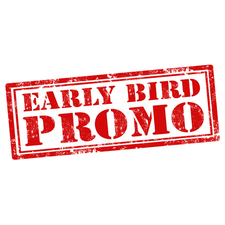 Grunge rubber stamp with text Early Bird Promo
