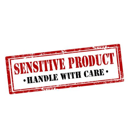 sensitive: Grunge rubber stamp with text Sensitive Product,vector illustration Illustration
