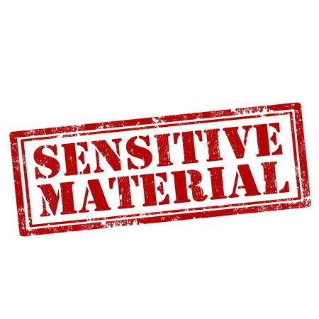 sensitive: Grunge rubber stamp with text Sensitive Material,vector illustration