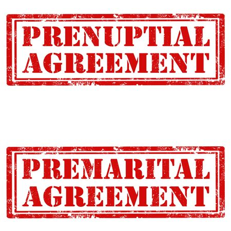 convention: Set of grunge rubber stamps with text Prenuptial Agreement and Premarital Agreement, illustration