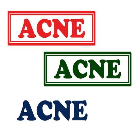 pubertad: Conjunto de sellos con el texto del acn�, ilustraci�n vectorial