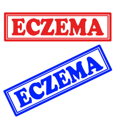 epidermis: Set of stamps with text Eczema,vector illustration Illustration
