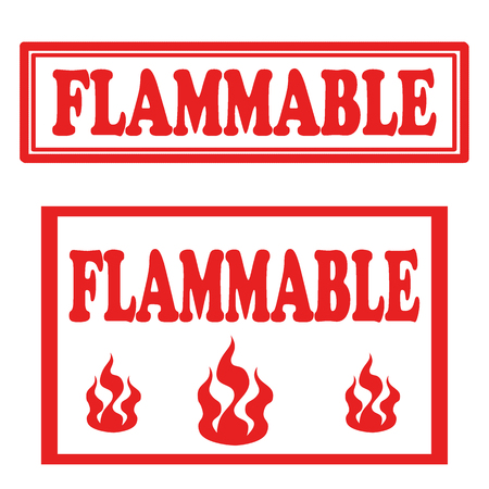 flammable: Set of stamps with text Flammable,vector illustration