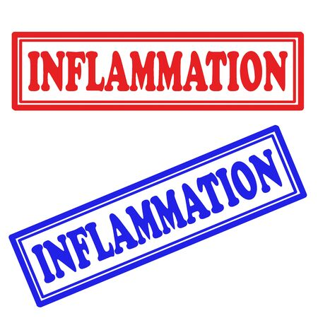 inflammation: Set of stamps with text Inflammation,vector illustration