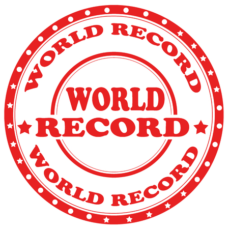 top class: Red stamp with text World Record,vector illustration Illustration