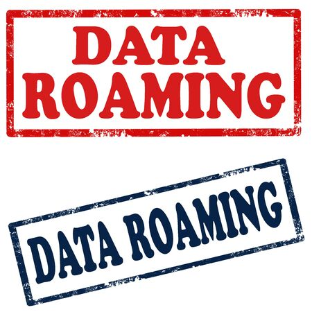 roaming: Set of stamps with text Data Roaming,vector illustration