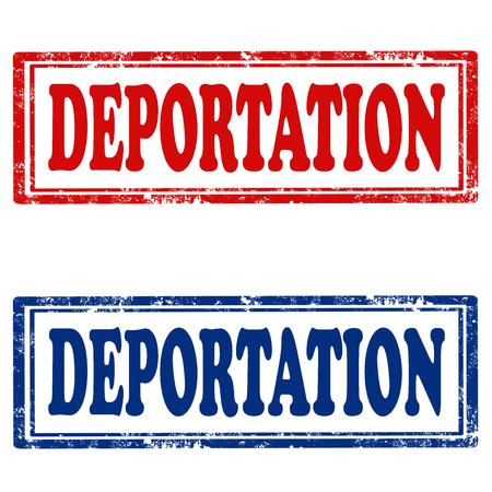exile: Set of stamps with text Deportation,vector illustration Illustration