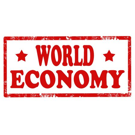 world economy: Grunge rubber stamp with text World Economy,vector illustration