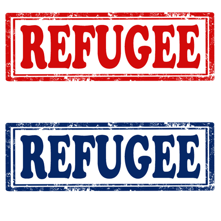 refugee: Set of grunge rubber stamps with text Refugee,vector illustration