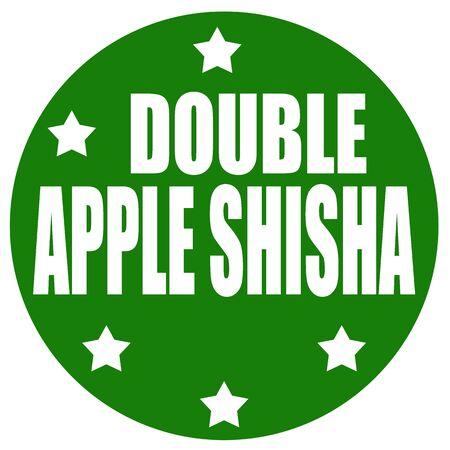 shisha: Green label with text Double Apple Shisha,vector illustration