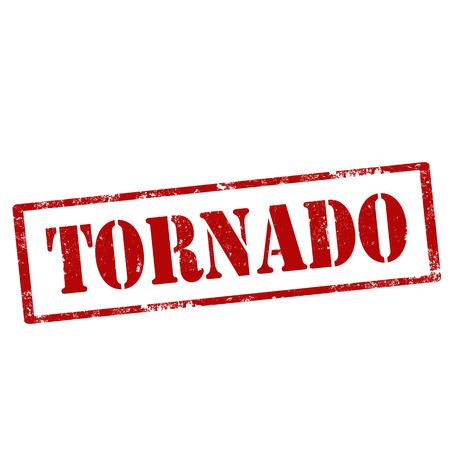 destructive: Grunge rubber stamp with text Tornado,vector illustration