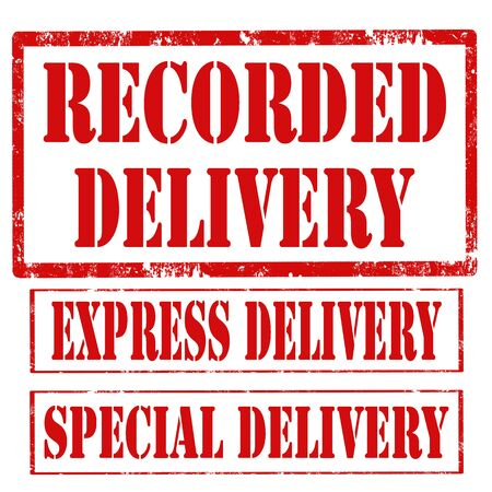 recorded: Set of stamps with text Recorded Delivery,Express Delivery and Special Delivery,vector illustration