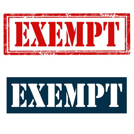 exempt: Set of stamps with text Exempt,vector illustration