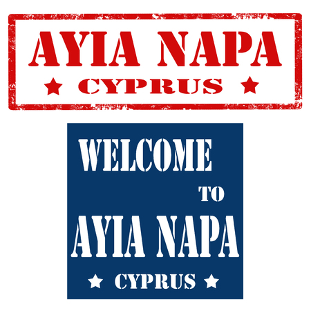 napa: Set of stamps with text Ayia Napa-Cyprus,vector illustration