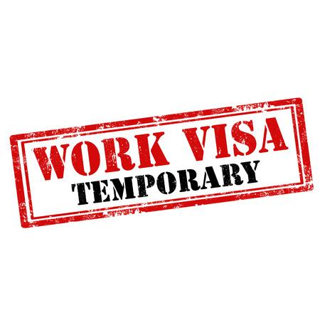 Grunge rubber stamp with text Work Visa,vector illustration