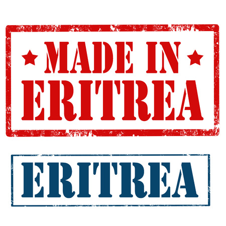 made manufacture manufactured: Set of stamps with text Made In Eritrea,vector illustration Illustration