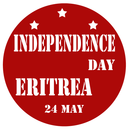 eritrea: Red label with text Independence Day Eritrea,vector illustration