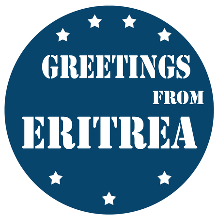 eritrea: Blue label with text Greetings From Eritrea,vector illustration Illustration