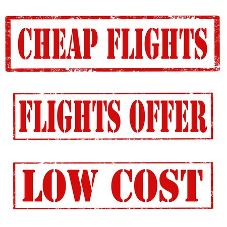 low cost: Set of stamps with text Cheap Flights,Flights Offer and Low Cost,vector illustration Illustration