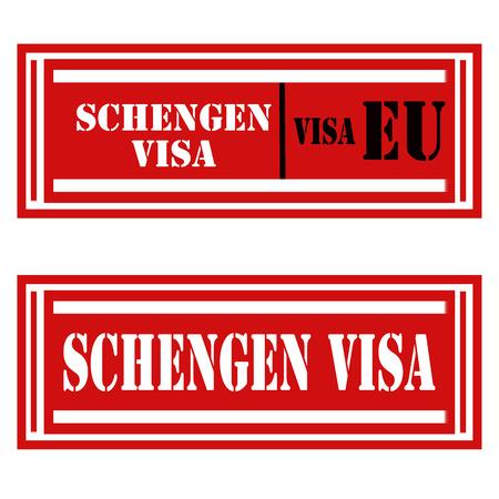 Set of stamps with text Schengen Visa,vector illustration Illustration