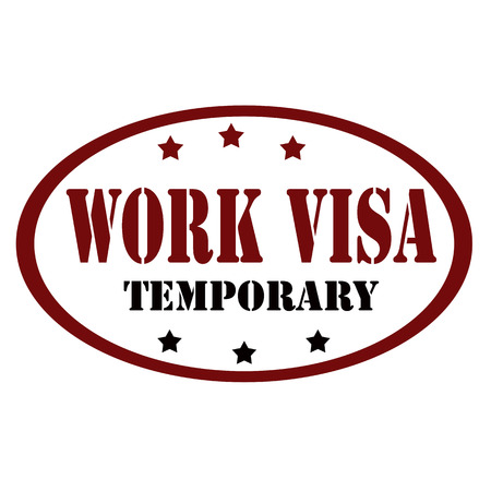 Stamp  with text Work Visa-Temporary,vector illustration Illustration