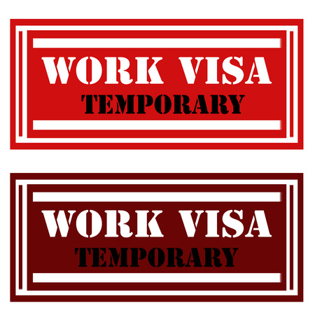 permission: Stamps  with text Work Visa-Temporary,vector illustration