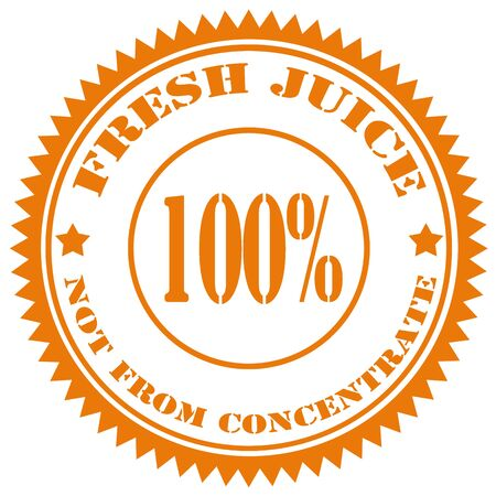 concentrate: Stamp with text 100% Fresh Juice,vector illustration