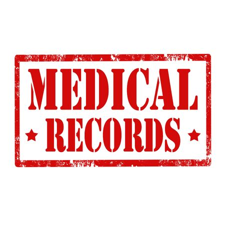 on records: Grunge rubber stamp with text Medical Records,vector illustration Illustration
