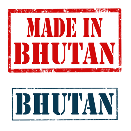 bhutan: Set of stamps with text Bhutan and Made In Bhutan,vector illustration