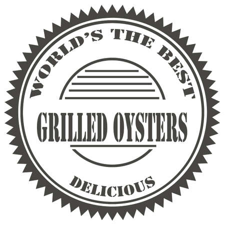 barbecued: Stamp with text Grilled Oysters,vector illustration