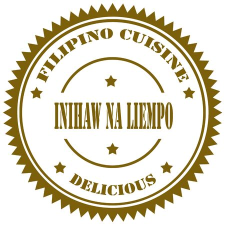 filipino: Stamp with text Inihaw na Liempo(Grilled Pork Belly),filipino recipe-vector illustration