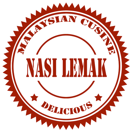 anchovy: Stamp with text Nasi Lemak(Malaysian Food),vector illustration
