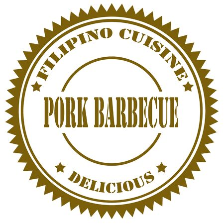 filipino: Stamp with text Pork Barbecue,vector illustration