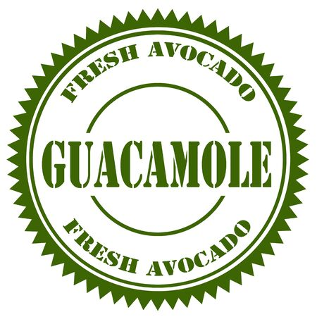 avocados: Stamp with text Guacamole,vector illustration