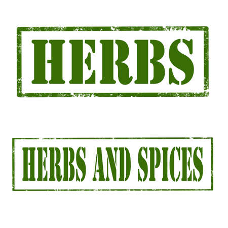 condiment: Set of grunge rubber stamps with text Herbs and Spices,vector illustration
