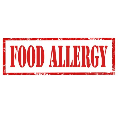 sensitivity: Grunge rubber stamp with text Food Allergy,vector illustration