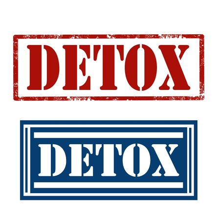 toxins: Set of stamps with text Detox,vector illustration