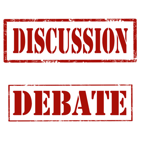 discourse: Set of grunge rubber stamps with text Discussion and Debate,vector illustration