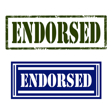 endorsed: Set of stamps with text Endorsed,vector illustration