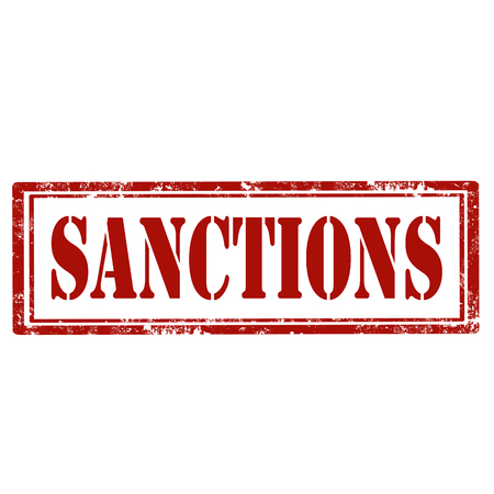 Red stamp with text Sanctions,vector illustration