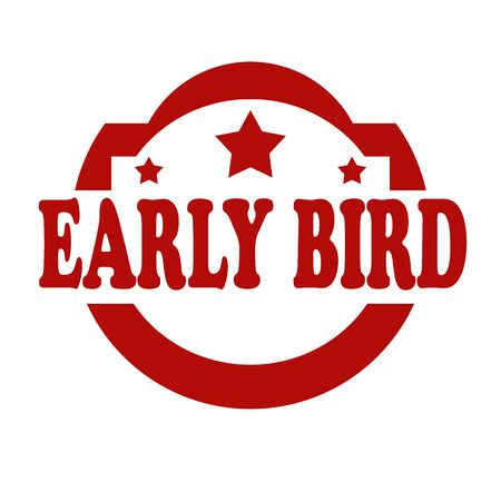early: Red stamp with text Early Bird,vector illustration