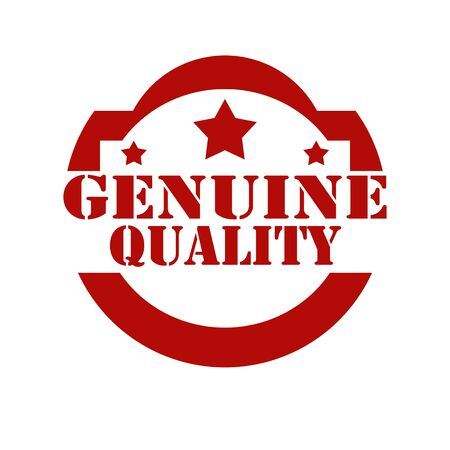 genuine: Red stamp with text Genuine Quality,vector illustration