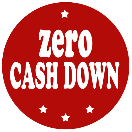 zero: Red stamp with text Zero Cash Down