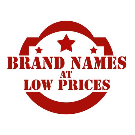 low prices: Red stamp with text Brand Names At Low Prices,vector illustration Illustration