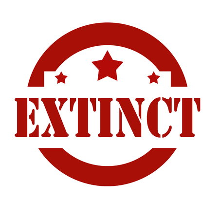 extinct: Red stamp with text Extinct,vector illustration