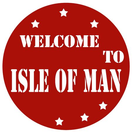 british isles: Red stamp with text Welcome To Isle Of Man,vector illustration